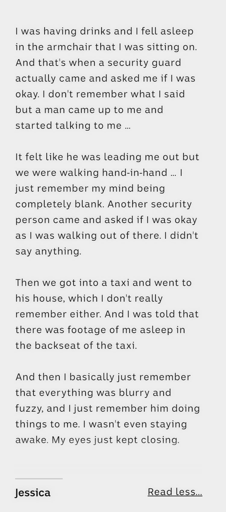 Jessica describes her sexual assault