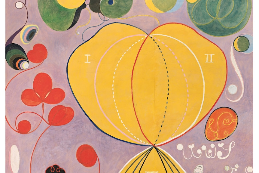 Mauve-coloured abstract paintingwith a large yellow figure of eight surrounded by swirling lines and concentric circles