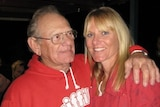 Tanya Harding and her dad laughing