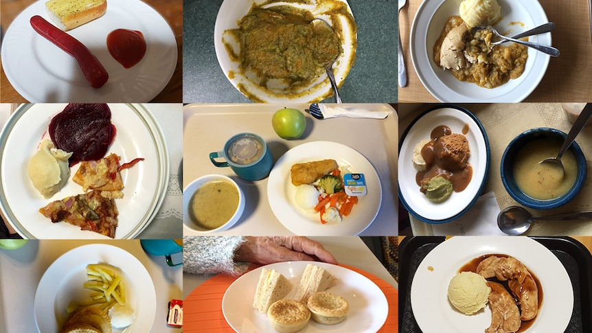 Nine pictures of meals served in aged care.