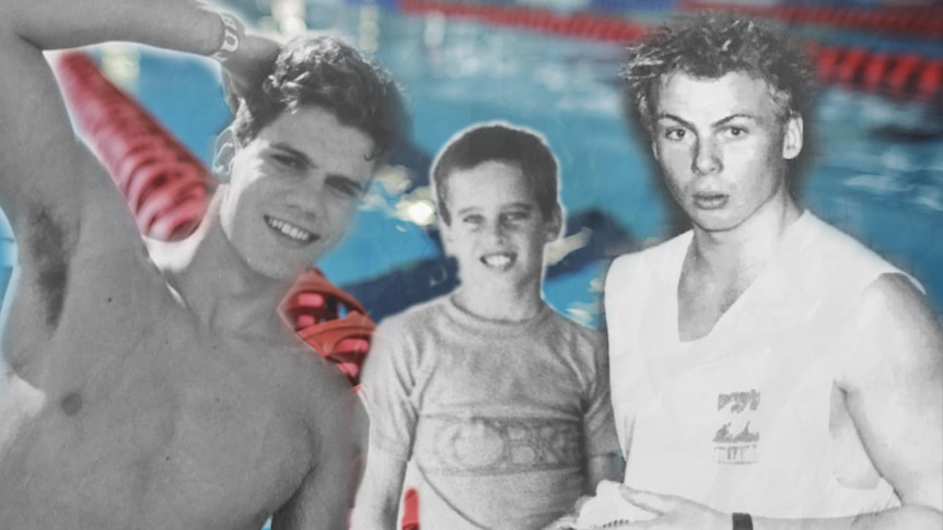 Three boys in front of a swimming pool.