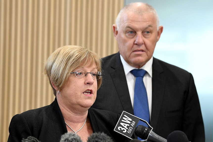 Police Minister Lisa Neville and Ron Iddles, the Community Safety Trustee at a press conference.