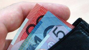 Australian dollar notes in a wallet