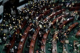 Hundreds of protesters inside the Legislative Council building