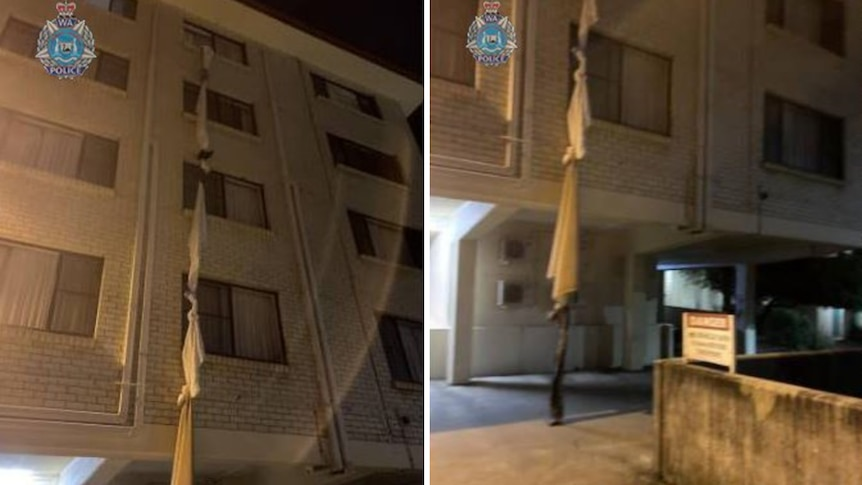 Composite images of sheets being hoisted from a hotel window