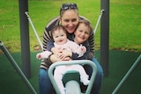 Korina Valentine with her children in the park the day before she developed sepsis