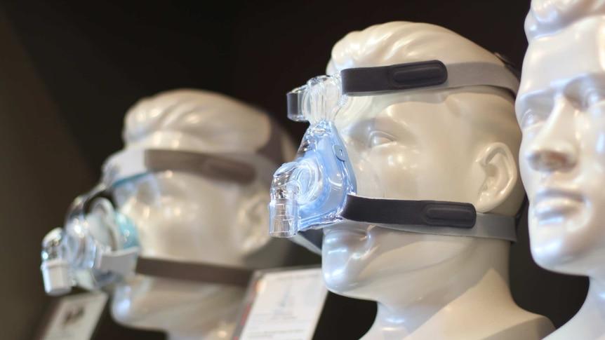CPAP masks on dummy heads