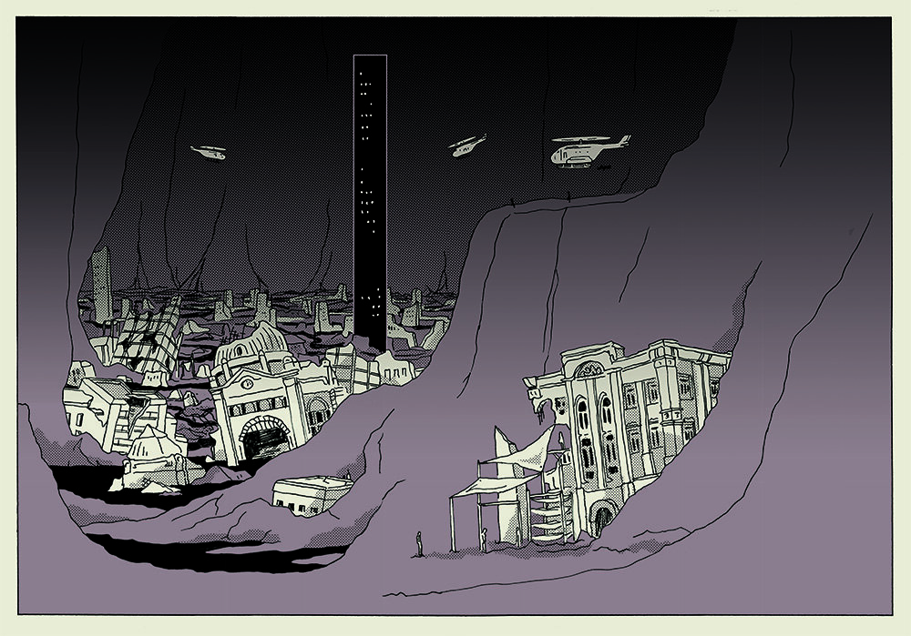 A black, white and brown illustration of cavernous terrain with building ruins tall surrounding black tower and helicopters.