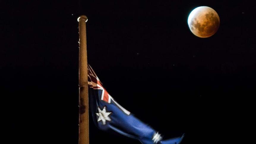 Blue Blood Supermoon and the Australian Flag