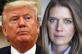 a portrait of donald trump looking off screen next to a portrait of Mary Trump looking at the camera