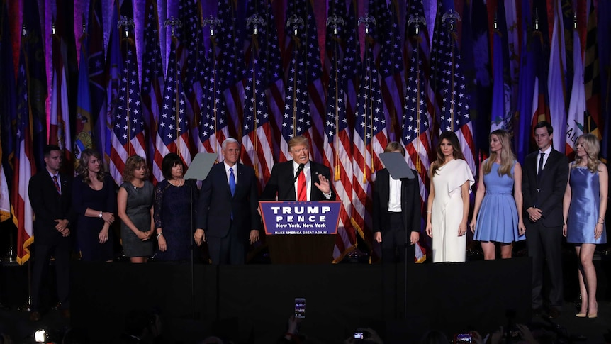 Donald Trump takes to the stage to declare victory