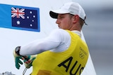 An Australian male sailor competing in the laser class at the Tokyo Olympics.