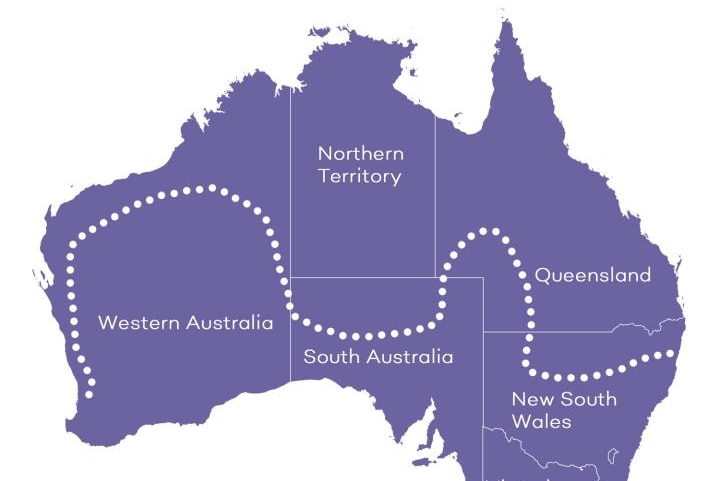 A map of Australia with a dotted line in the middle.