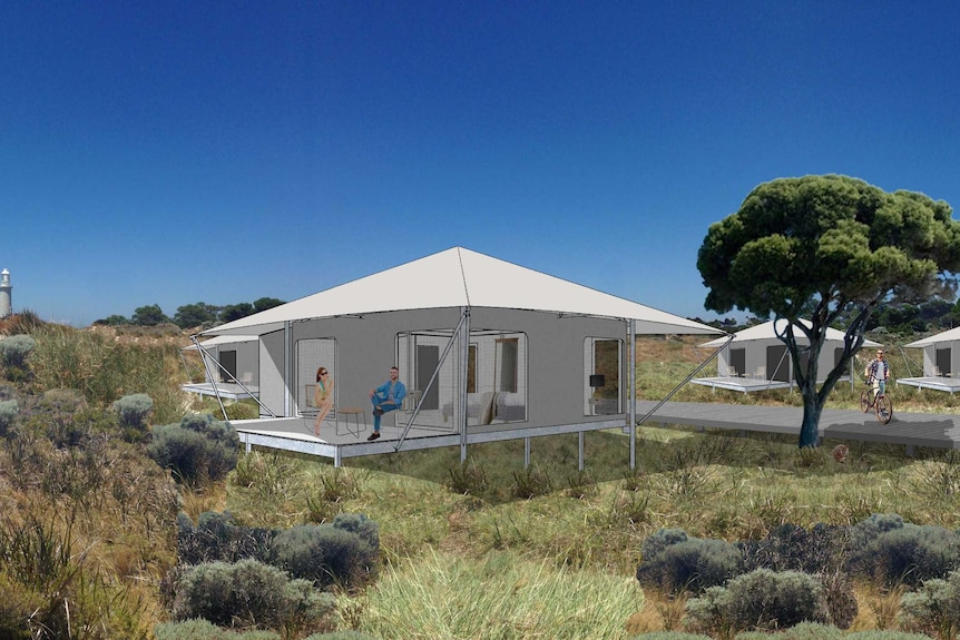 An artist impression of the glamping accommodation to be installed on Rottnest Island.