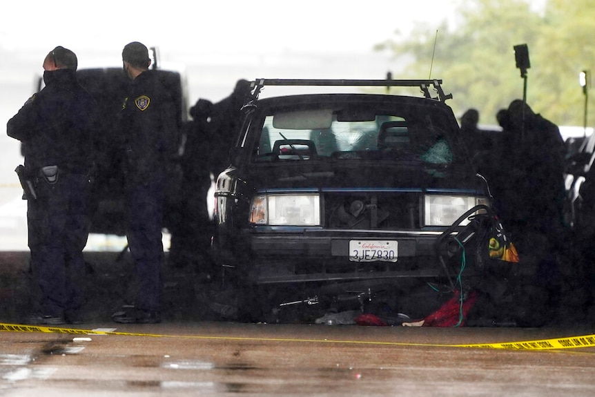 A car involved in a deadly accident sits at the scene in San Diego.