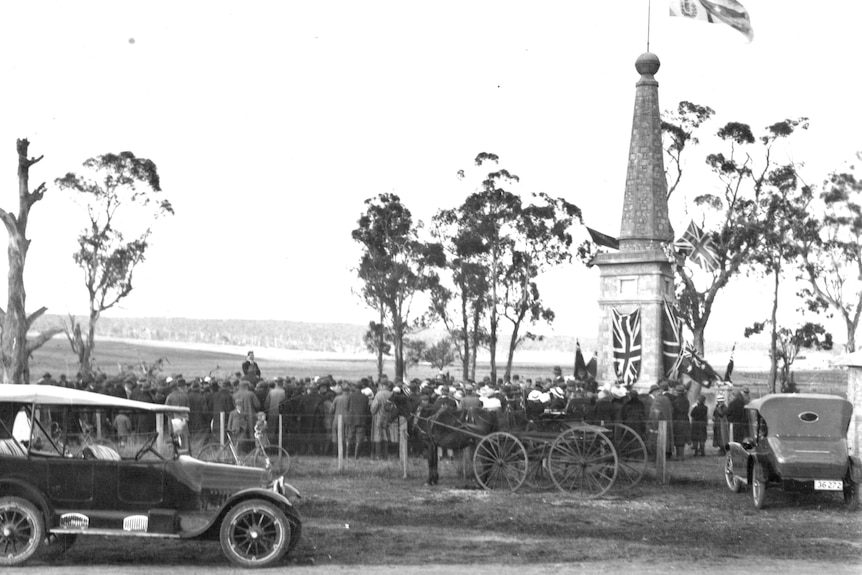 Black and White photograph of ceremony opening war memorial in 1921