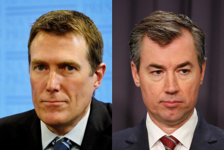 Composite headshots of Turnbull Government ministers Christian Porter and Michael Keenan.