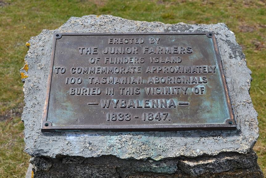 Commemorative plaque at Wybalenna, south east Tasmania.
