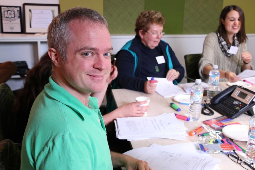 Crace Community Association president David Pollard at a workshop in Canberra.