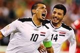 Younus Mahmood celebrates his goal against Palestine