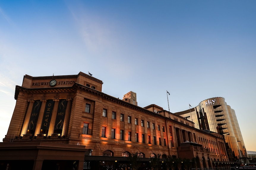 The SkyCity casino and Adelaide Railway Station building.