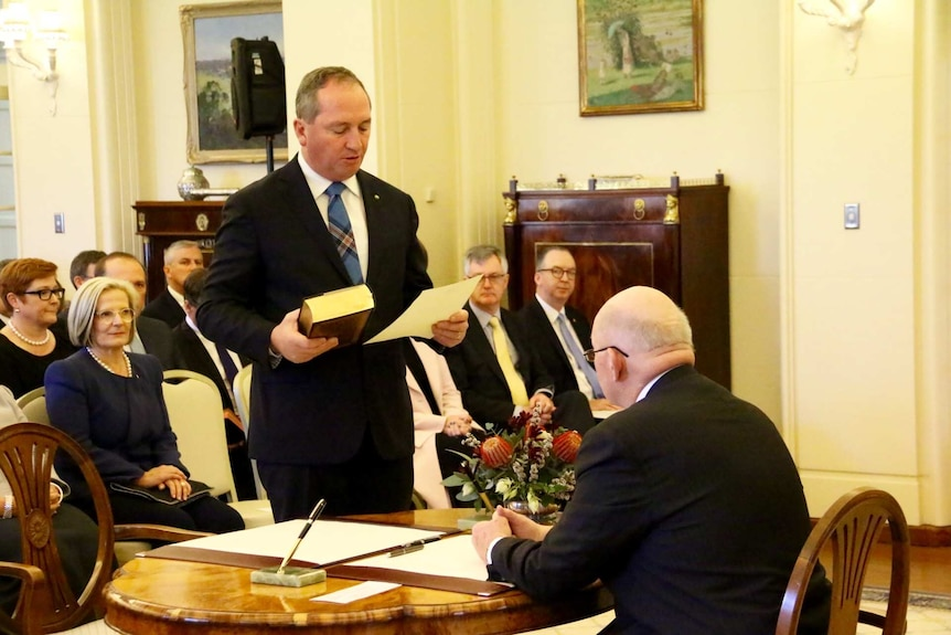 Barnaby Joyce is sworn in at Government House.