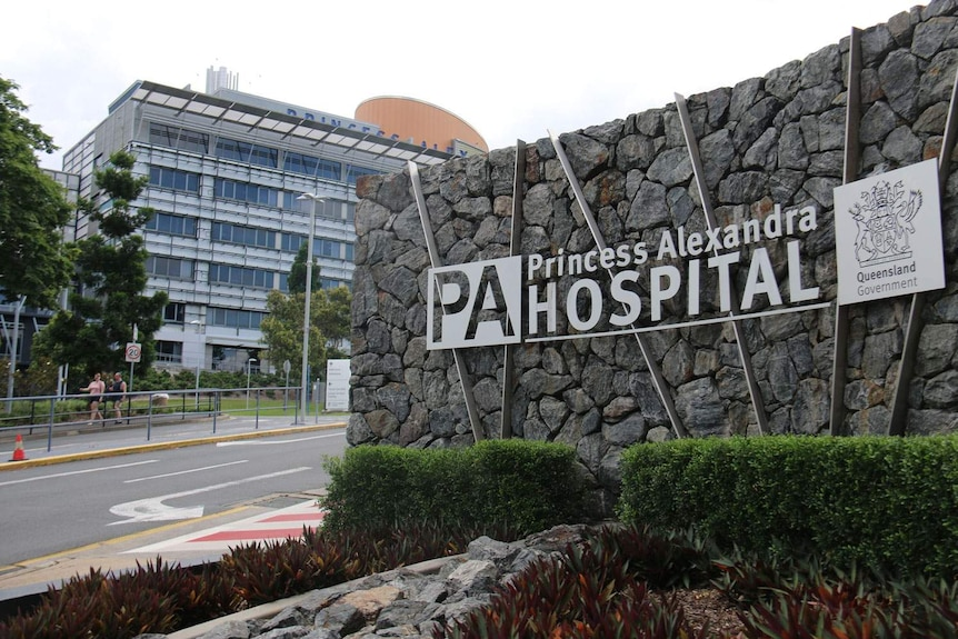 Sign and main driveway of Princess Alexandra Hospital in Brisbane