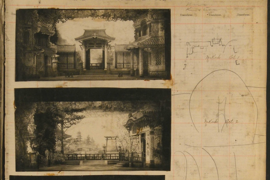 Two black and white images of the set of a theatre production, images depict a Japanese-style home and garden