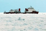 Chinese icebreaker as seen from deck of Aurora Australis