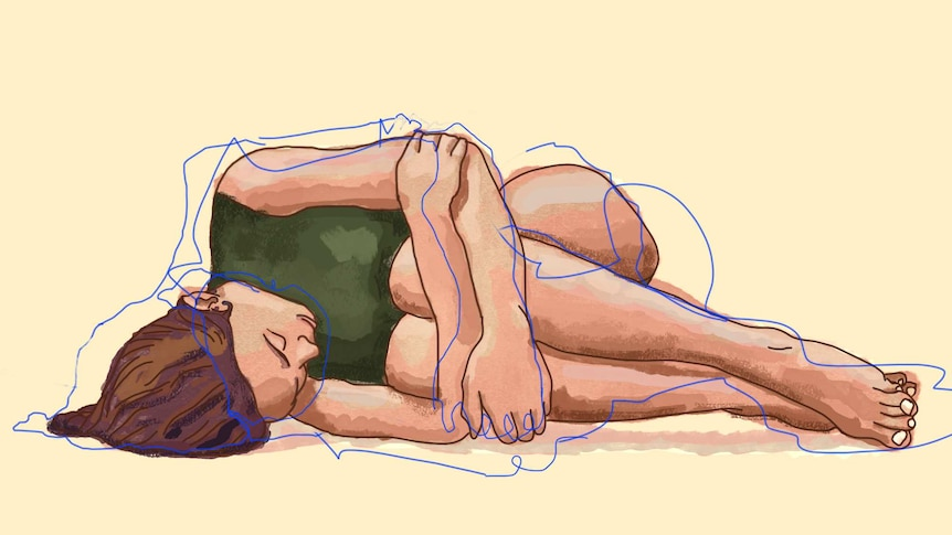 Illustration of woman curled up on the ground to depict the health consequences of body shaming women.