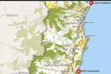 Cross hatching in blue shows potential mineral resources on draft North Coast regional Plan map.