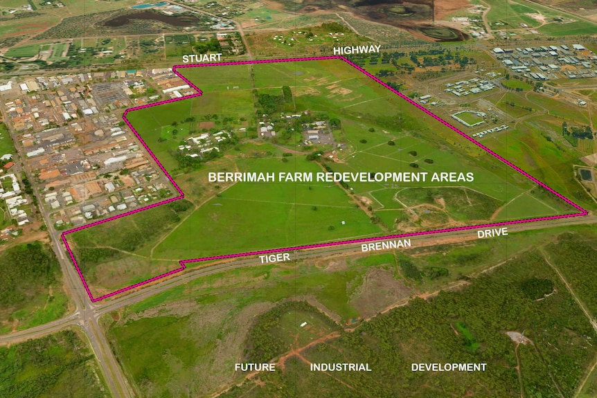 Outline of the Berrimah Farm redevelopment area, about 10km from Darwin's CBD.