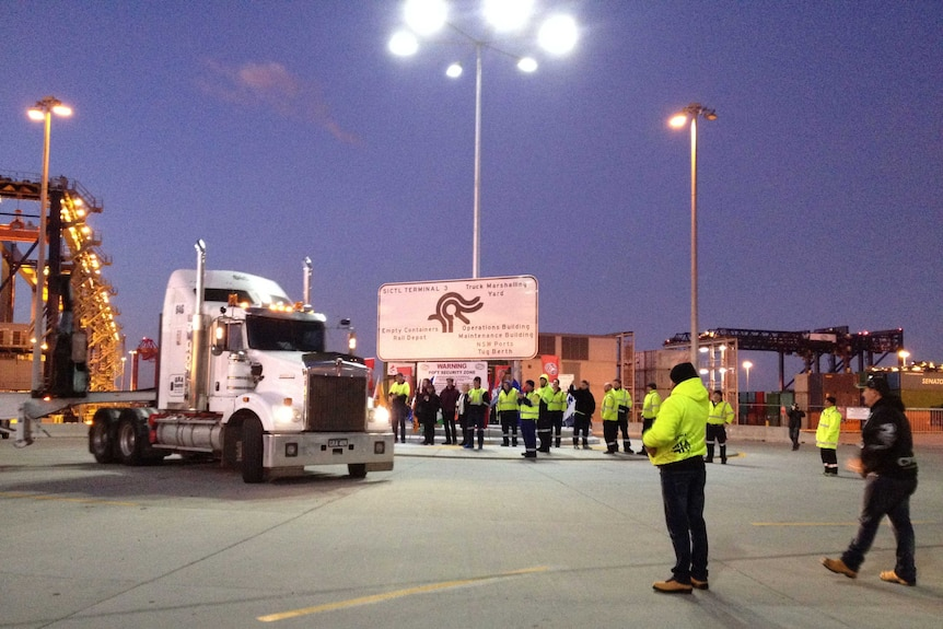 Truck at Hutchison wharf at Port Botany