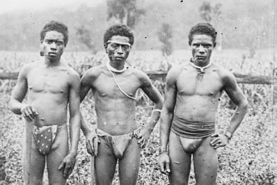 Male South Sea Islanders smoking pipes in Queensland, taken circa 1885.