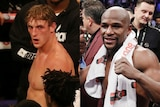 A composite image of YouTuber Logan Paul and boxer Floyd Mayweather Jr.