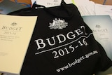 2015 federal budget papers and carry bag