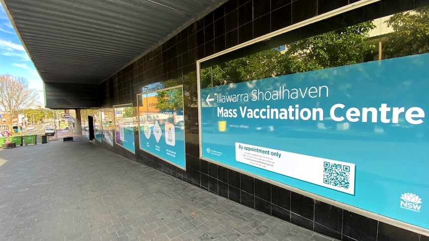 A building in a shopping mall that has been converted into a vaccination hub.