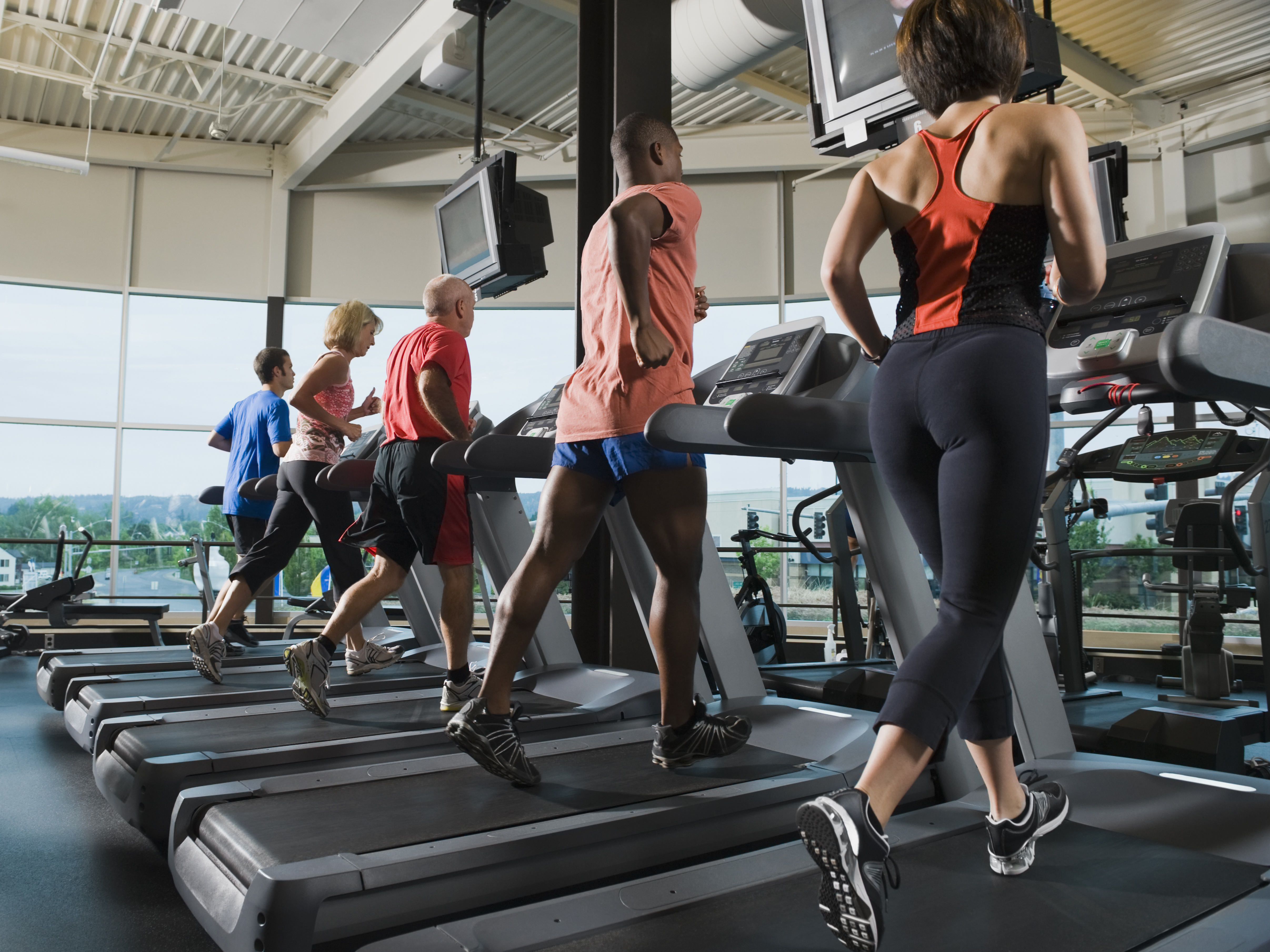 Row of people running on treadmills in gym