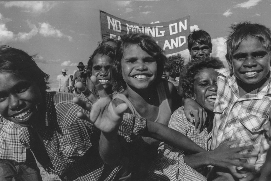 Children take part in the Kimberley Land Council march.