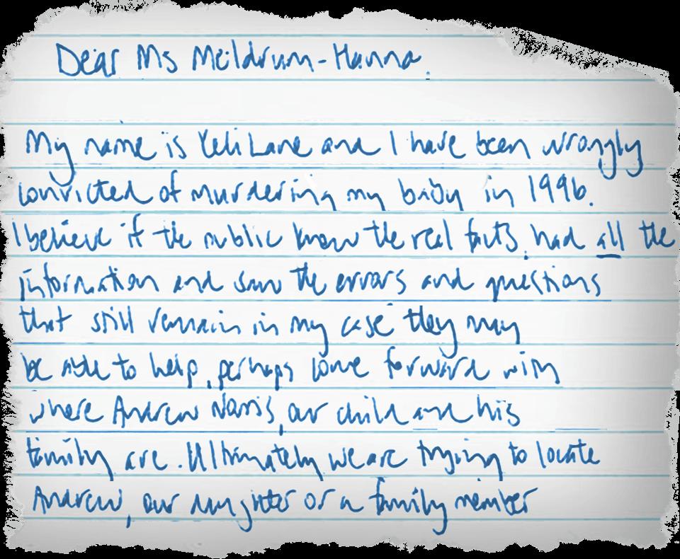 An extract of the handwritten letter Keli Lane sent to investigative journalist Caro Meldrum-Hanna