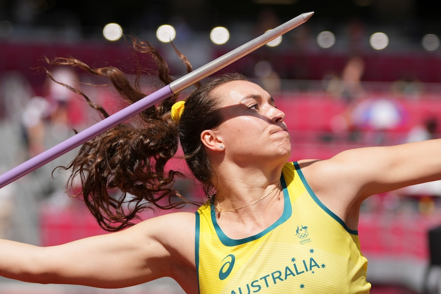 Australian athlete throwing the javelin during the Olympics