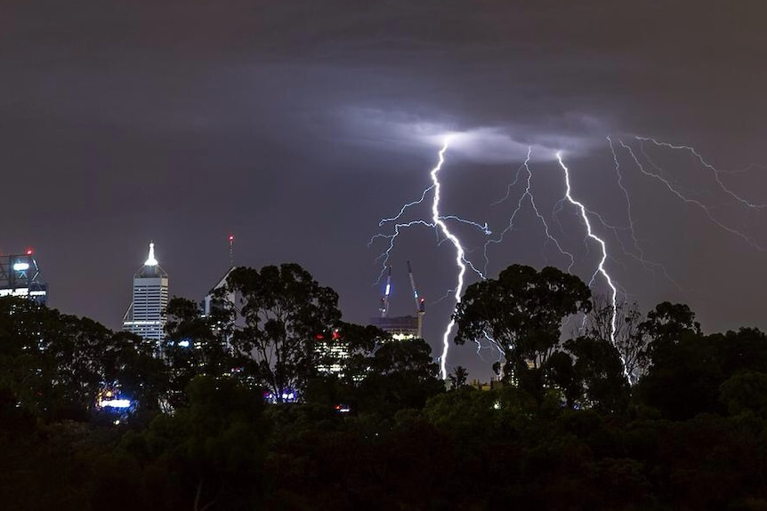 Electrical storm over Perth
