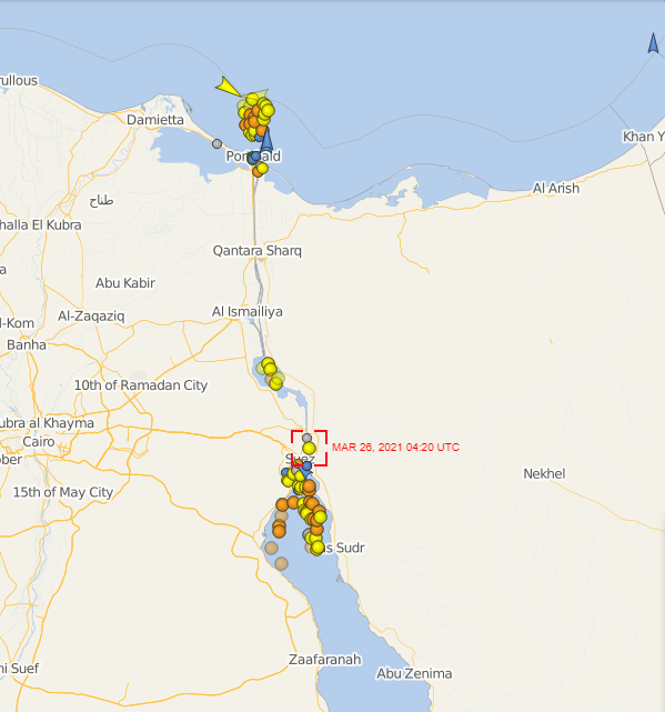 A tracking map of the Suez Canal with coloured dots showing the number of ships waiting to get through