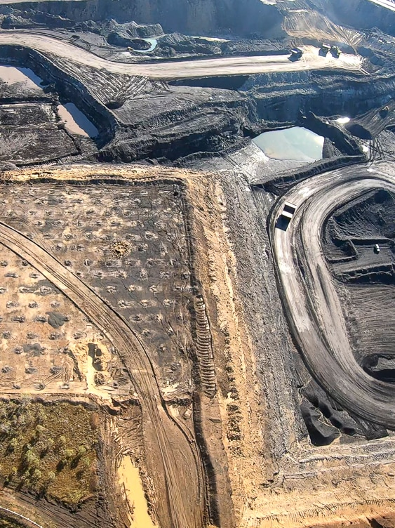 An aerial photo of the West Pit at the New Acland Coal Mine