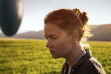 A close shot of a woman in a field. A UFO is nearby.