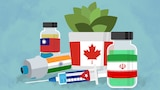 A collection of vaccines with the flags of different countries, including India, Taiwan, Iran, Cuba and Canada.