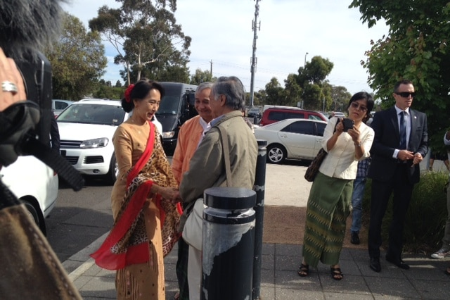 Aung San Suu Kyi at event in Dandenong
