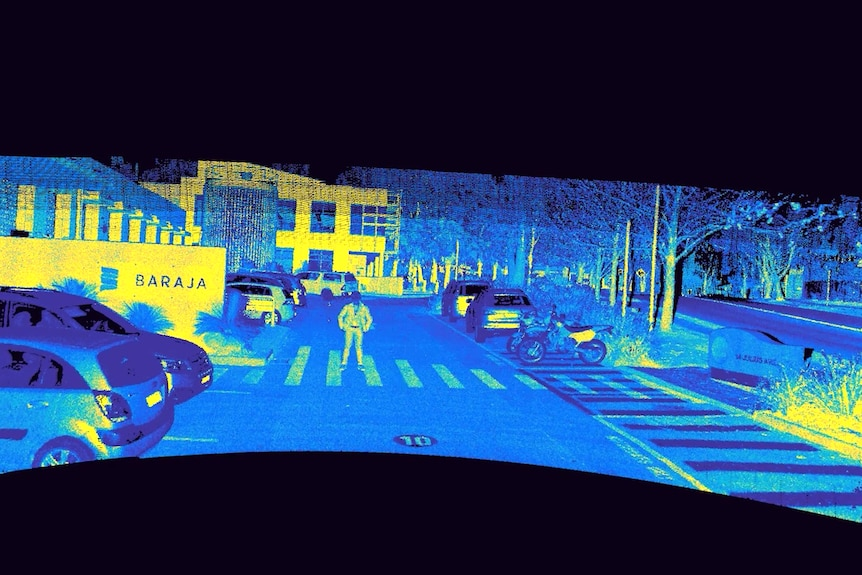 LiDAR sensor shot of cars parked, with a man on a zebra crossing