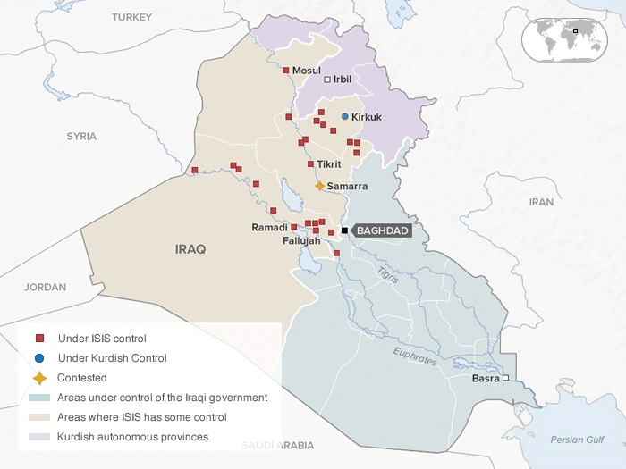 A map of Iraq showing areas under ISIS control as of June 13.