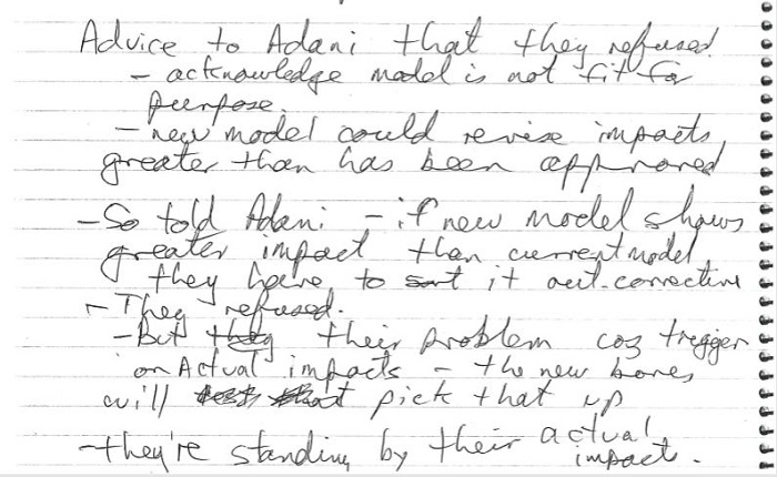 James Johnson hand written notes of DoEE teleconf 5 April 2019.